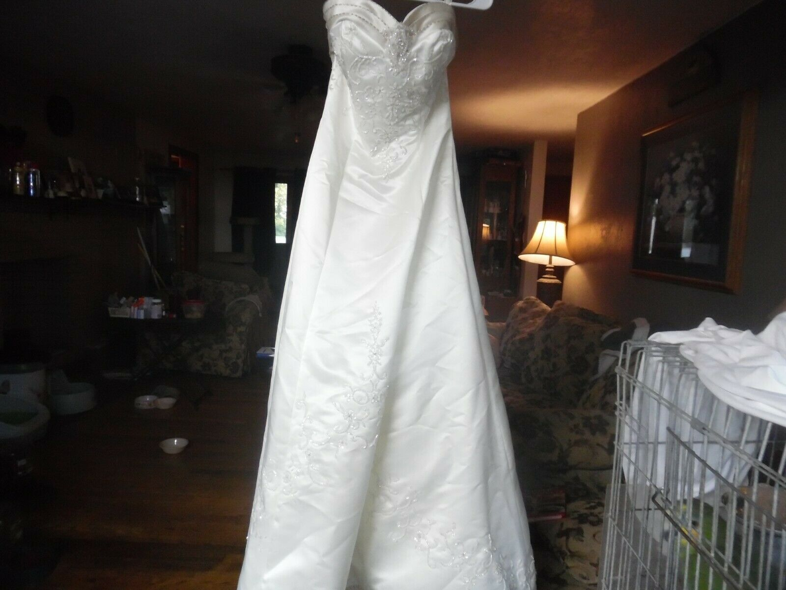 Private Collection Ivory & Mocha satin beaded size 8 wedding dress never worn