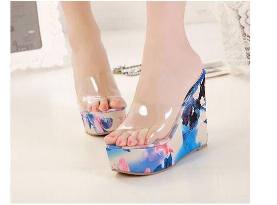 Scarpe ciabatte sabot sandali sandali sandali tacco zeppa 13 cm blu fiori elegante 8050 48177f