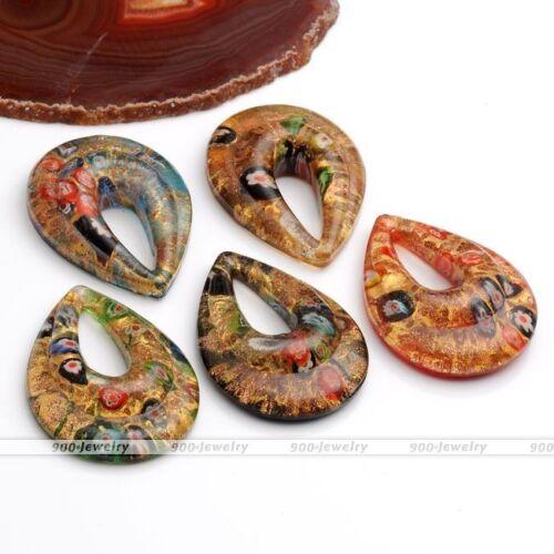 Murano Lampwork Glass Oval Teardrop Golden Flower Pendant Fit Necklace Bracelet