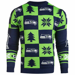 huge selection of f59c1 9bce0 Details about Seattle Seahawks Ugly Patches Christmas Sweater NEW All Sizes
