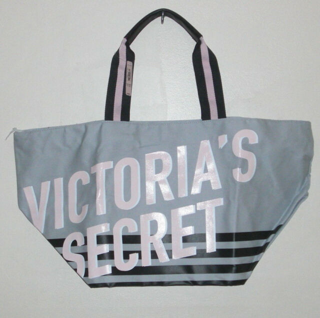 Victoria s Secret Tote Limited Edition 2018 Weekender Beach Bag Logo Gray 016d027bb0