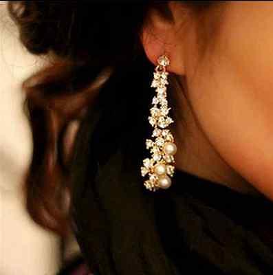 Pearl Rhinestone Women Lady Crystal Dangle Chandelier Earrings Jewelry