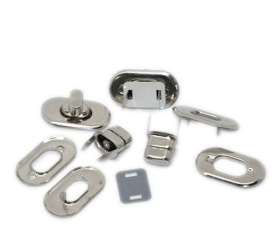 """10 Sets Silver Tone Purse Twist Turn Lock 28x37mm 1 1//8/""""x1 4//8/"""""""
