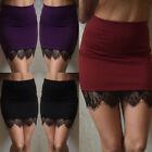 US Women OL Formal Lace Stretch High Waist Short Bodycon Mini Skirt Pencil Dress