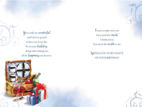 Merveilleux fiancé Vin panier /& CADEAUX Design Happy Birthday Card Lovely Verset