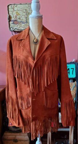 Vintage Sienna Brown suede fringe leather jacket.