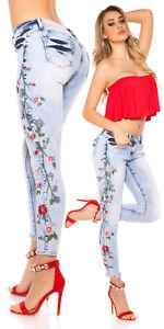Jeans-donna-pantaloni-aderenti-elasticizzati-fiori-ricamati-skinny-floreale-nuov