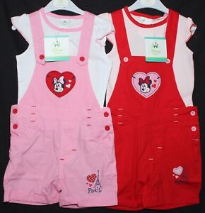Baby-Girl-039-s-Disney-MINNIE-MOUSE-T-Shirt-amp-Dungaree-Shorts-Set-NWT-3-24-Months