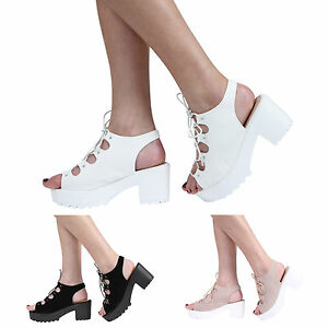 NEW-WOMENS-GIRLS-KIDS-CLEATED-PLATFORM-BLOCK-HEEL-LACE-UP-SANDAL-SHOES-SIZE-10-8