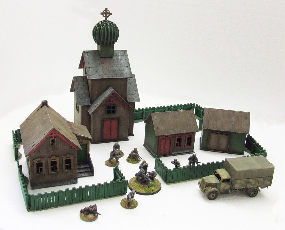 'RUSSIAN VILLAGE' - 28mm  - ASSEMBLED MDF & PAINTED TO COLLECTOR'S STANDARD