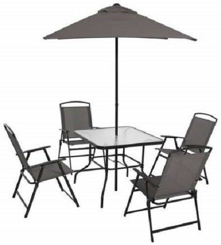 Astounding Outdoor Dining Set 6 Pc Patio Furniture Gray Folding Chairs Table And Umbrella Machost Co Dining Chair Design Ideas Machostcouk