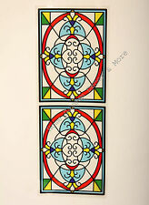 "24.4"" x 9"" Victorian Scroll Stained Glass Window Film Sticker Decal Peel & Stick"
