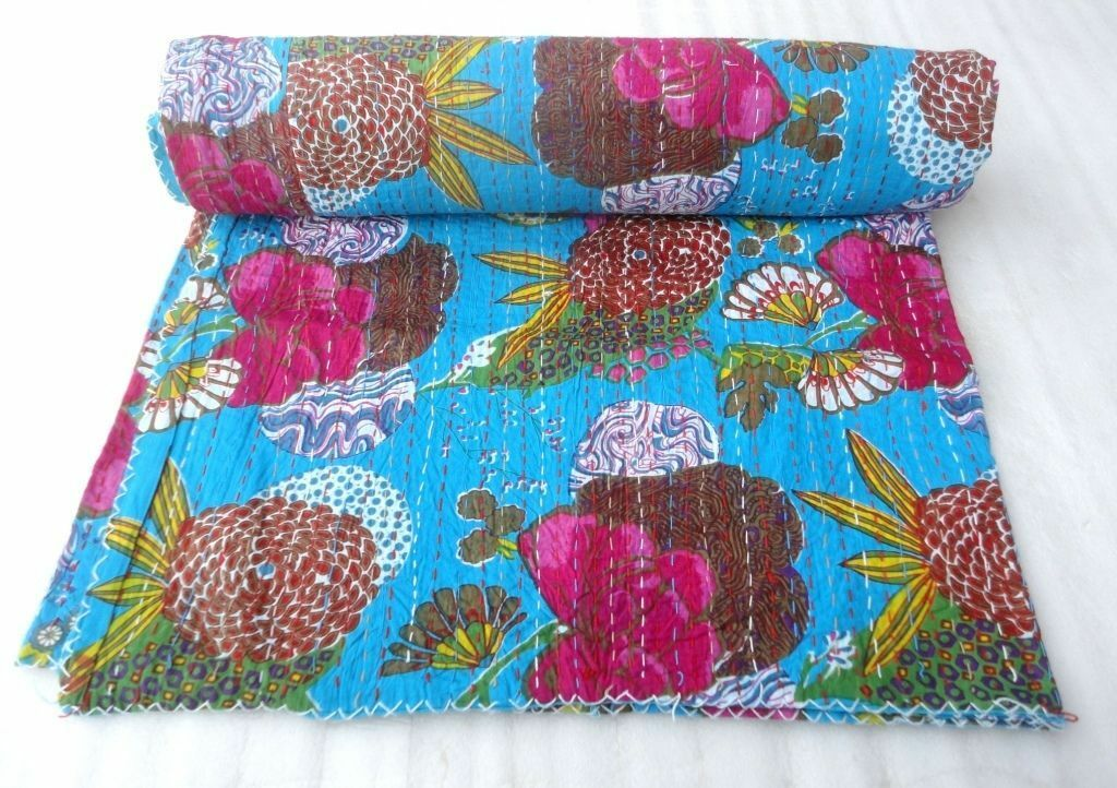New Vintage Kantha Indian Queen Bedspread Handmade Quilt Bed Cover Kantha Throw