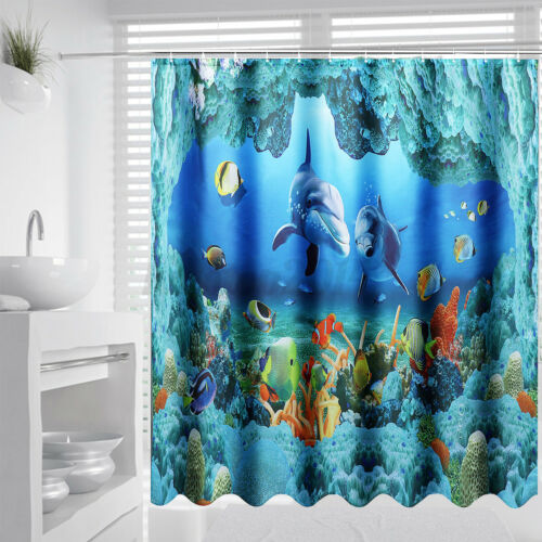 US Waterproof Shower Curtain+Anti-slip Bath Floor Mat Toilet Cover Rug Set+Hooks