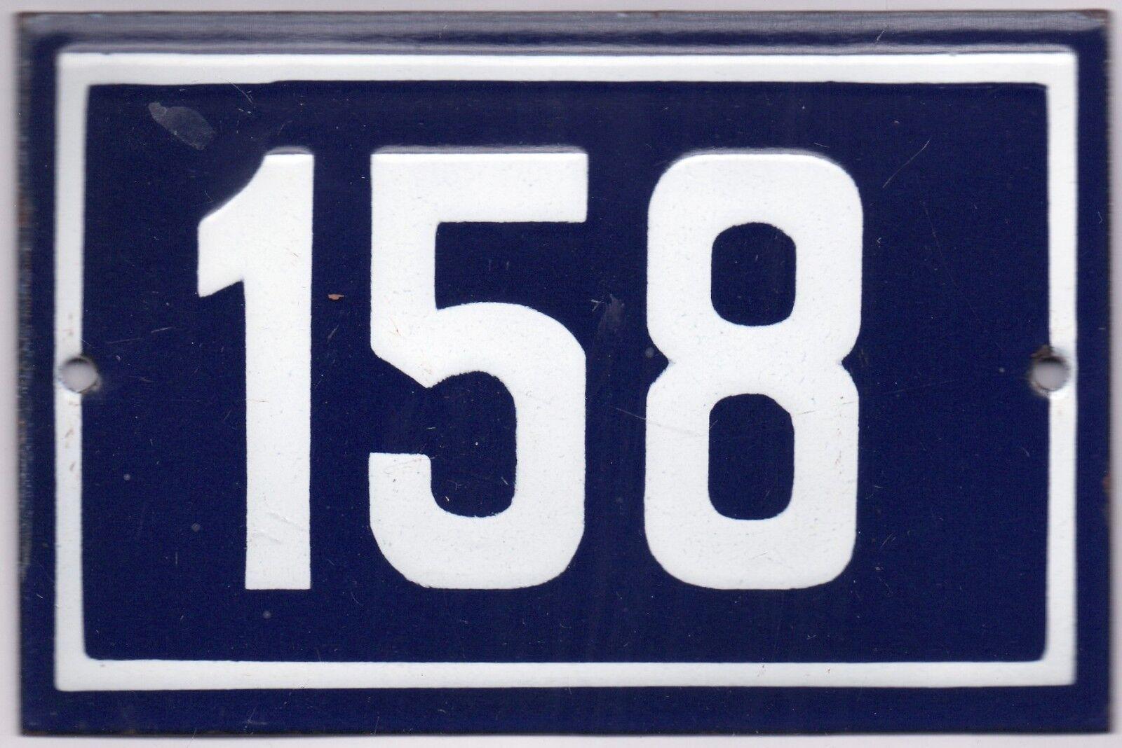 Old Blau French house number 158 door gate plate plaque enamel steel metal sign