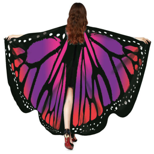 Girl Butterfly Wings Shawl Scarves Nymph Pixie Poncho Costume Accessory US Stock