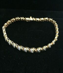 Vintage-Sterling-Silver-Tennis-Bracelet-Two-Tone-Gold-Tone-Lobster-Clasp-Bright