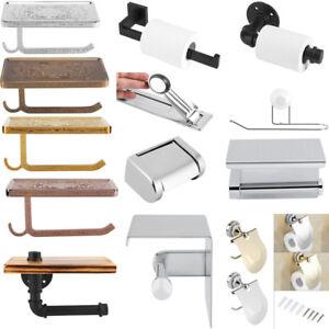 Bathroom-Toilet-Paper-Roll-Tissue-Holder-Wall-Mount-Rack-Shelf-Stainless-Steel