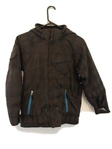 Obermeyer-Boys-Junior-Size-12-Ski-Snowboard-Jacket-Brown-Hooded-Zipper-Plaid