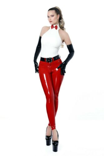 CLASSIC LATEX JEANS LEGGINGS includes BELT M *RED* RRP £173.45 **NEW!!!