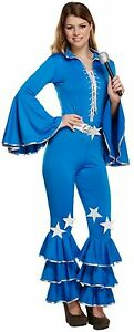 Ladies-70-039-s-80-039-s-Disco-Pop-Star-Halloween-Fancy-Dress-Costume-Outfit-8-10-12