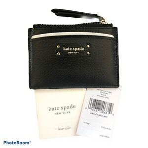 KATE-SPADE-Jeanne-Small-Card-Holder-Coin-Purse-Zip-Wallet-Black-Leather-WLRU5585