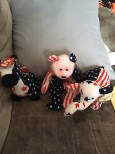 Ty Beanie Babies - Spangle, Lefty 2000 and Righty 2000