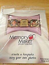 "Memory Maker Photo Bracelet M-0211 Small 6.5"" Square Frames Antique Gold NIP"