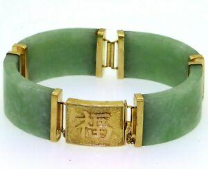 Vintage-HK-Designer-14k-YG-17-58mm-Wide-Green-Jade-Jadeite-Link-Bracelet
