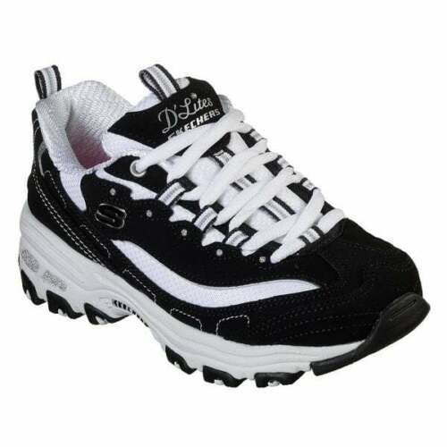 Skechers D/'LITES BIGGEST FAN Girls Lace Up Sports Athletic Trainers Black//White