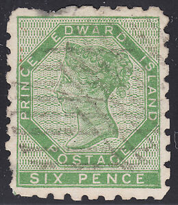 PEI-6d-QV-yellow-green-perf-9-Scott-3-VF-used-w-flaws-catalogue-1-500