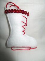 "Handmade Shabby Chic / Rustic Felt ""Ice Skate"" Christmas Tree Decoration"