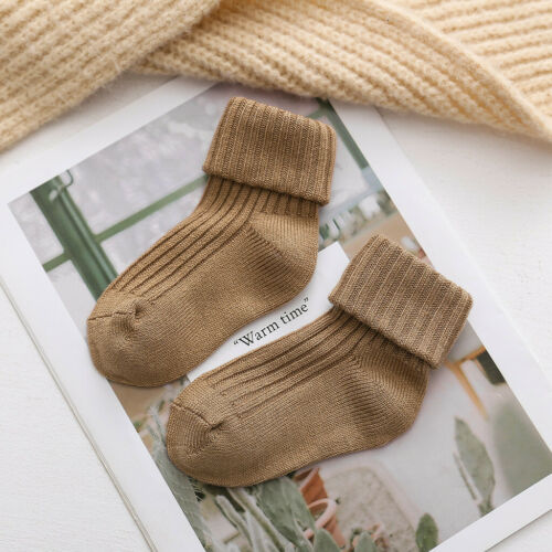 Fashion Baby Girls Solid Socks Warm Knitting Wool Infant Children Kids Home Sock