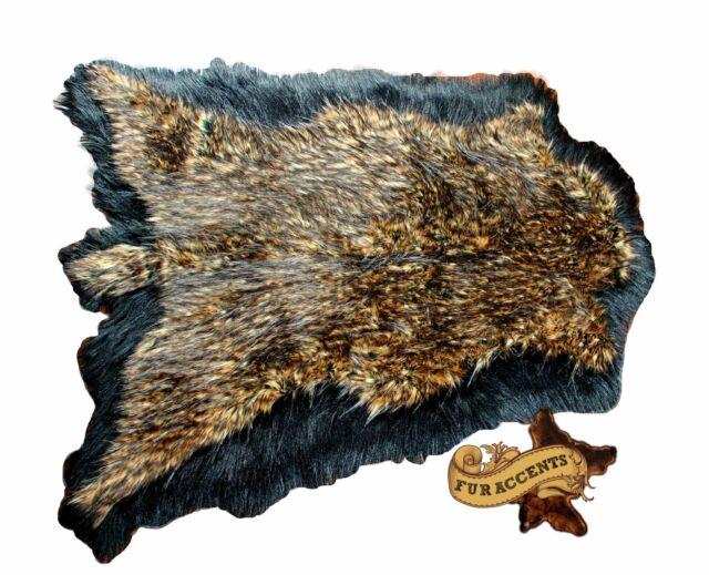 Shag Rug / Hide / Brown / Black Tail Deer / Bear Skin Pelt Rug / Faux Fur