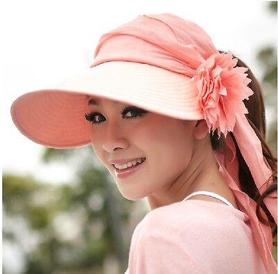 Women's Ladies Summer Beach Sun Visor Cap Girls Wide Brim Flower Hat Hats