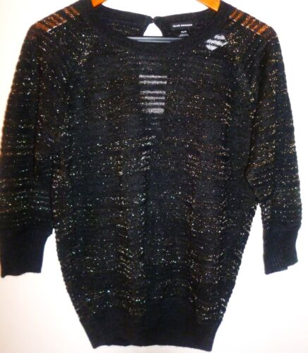 S New Club Monaco Emma  Sparkly Sweater Soot Black Size XS