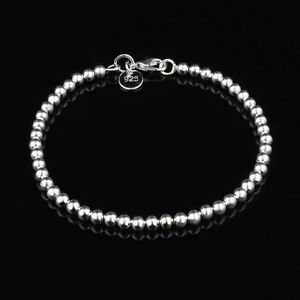 NEW-CUTE-sterling-Silver-Plated-Fashion-Bead-women-Chain-Bracelet-jewelry