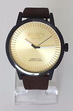 Puma Herren Uhr Suede braun gold schwarz Leder PU104101006