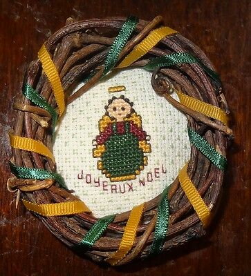 Angel Christmas ornament.Vine wreath ribbons picture angel Finished Cross Stitch