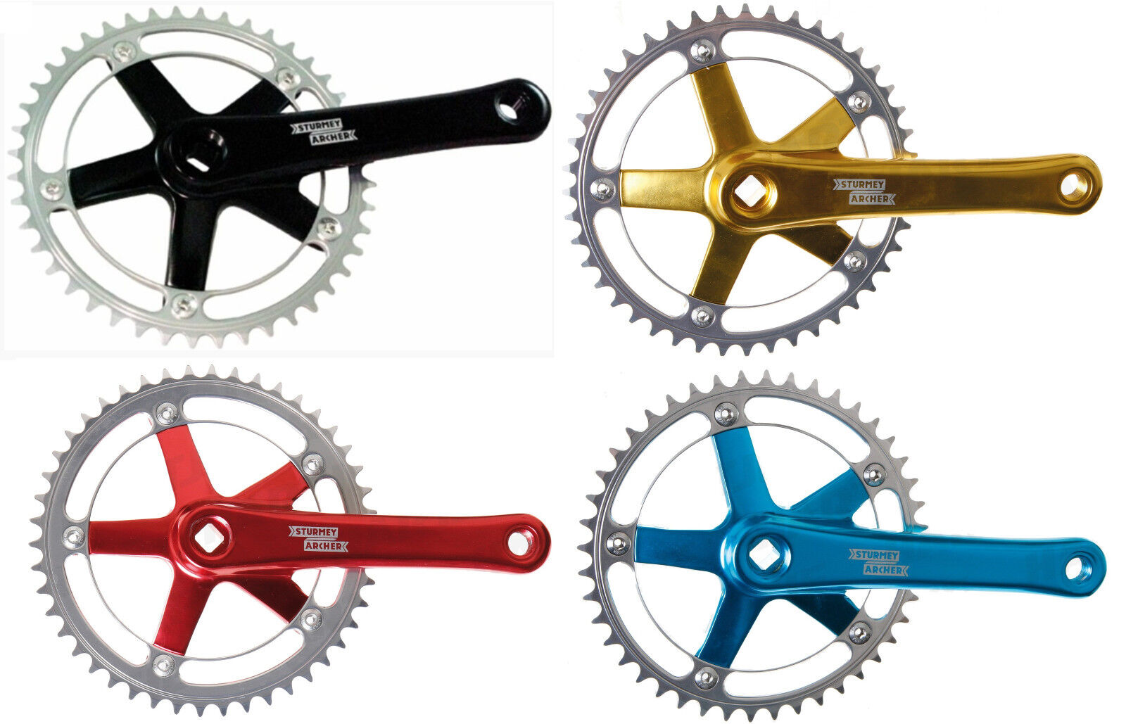 4 Kant SingleSpeed Crank Sturmey Archer 46 Zähne Various Colorees