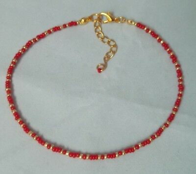 Boho Anklet Anklet Jewelry Ankle Jewelry Beaded Anklet Red Anklet Handmade Anklets Anklet for Women Red Glass Beaded Anklet