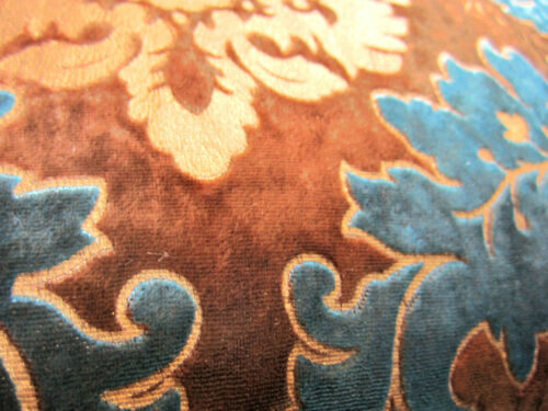 Wa04a Teal Blue Brown Gold Print Damask Velvet Cushion Cover//Pillow Case Size*