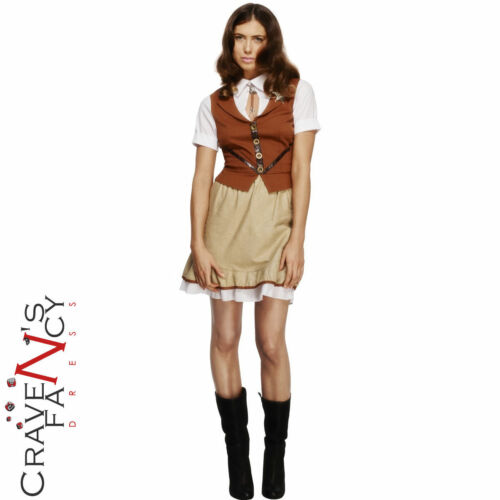 Febbre Adulto Sceriffo Costume Donna Wild West Cowboy Fancy Dress Outfit NUOVO