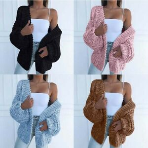 Casual-Ladies-Sleeve-Women-Coat-Knitted-Sweater-Front-Open-Puff-Cardigan