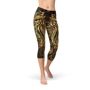 Owl Capri Leggings For Women - Art Deco   Steampunk Owl Printed Capri Yoga Pants