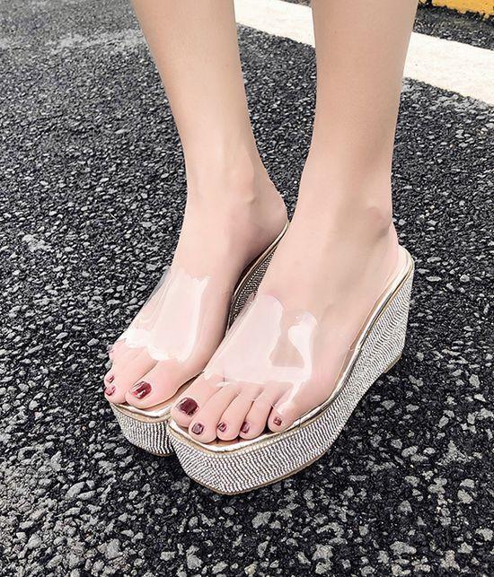 Último gran descuento Sandalias zapatillas mujer zuecos purpurina plata cuña 10.5 transparente cómodo