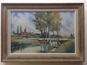 Gemaelde-Post-Impressionisten-Marine-Boot-Bruecke-Levis-Canal-De-Berry-Ol-Signiert