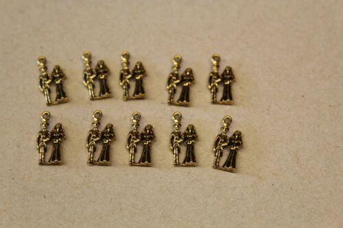 Design = VERY SMALL WEDDING COUPLE 10  METAL CRAFT CHARMS
