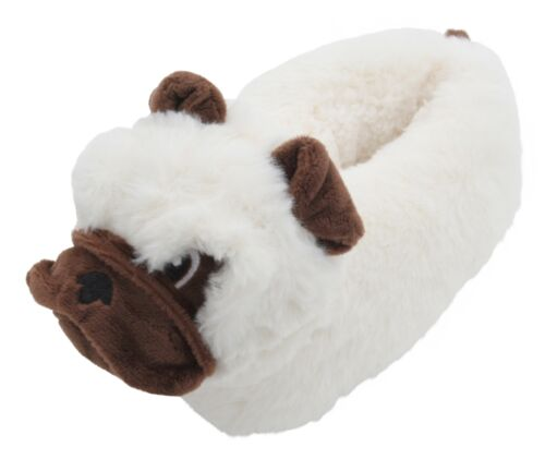Slumberzzz Kids Soft Plush 3D Pug Dog Slippers