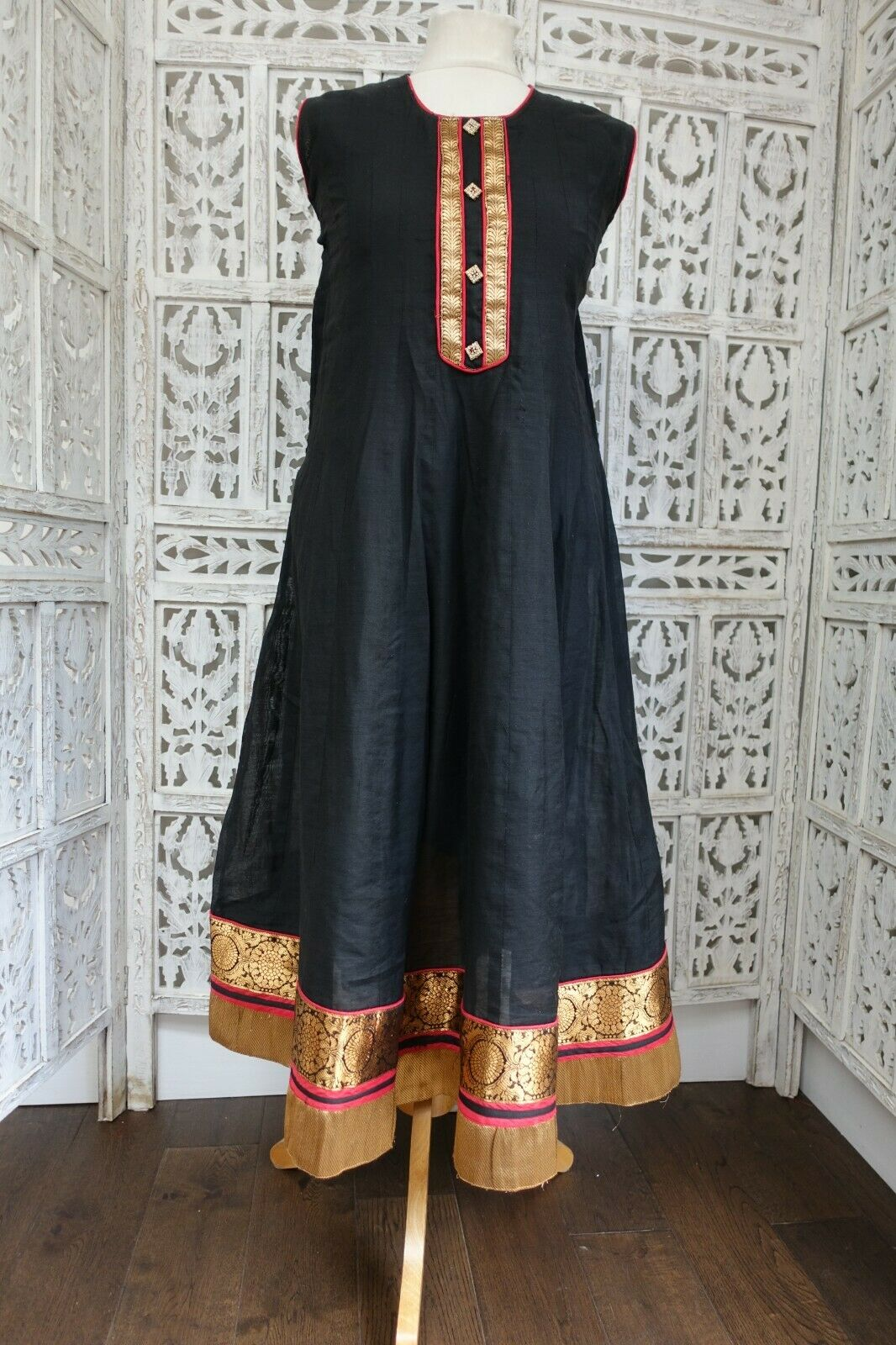 Black anarkali frock Indian Bollywood dress kameez UK 14 / EU 40 SKU17163